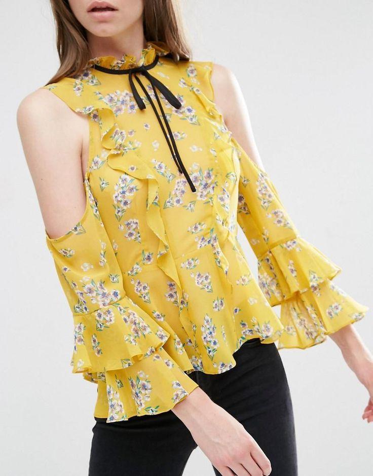 ASOS | ASOS Cold Shoulder Ruffle Blouse in Floral Print at ASOS