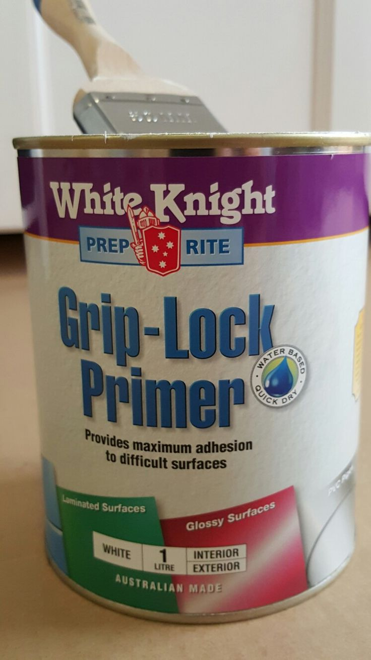 Grip Lock primer on the Laxarby doors so I can paint them the same white as the walls.  The top coat though is a slightly glossy paint.  Water-based.   Oil based tends to yellow over time.
