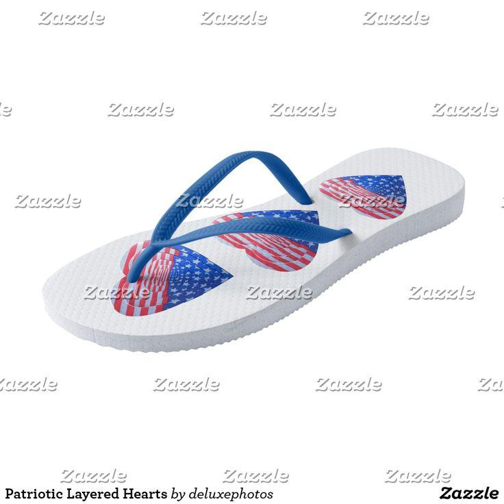 Patriotic Layered Hearts Flip Flops