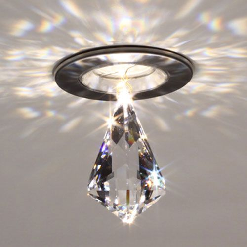 Gorgeous!!!  Ledra 12 Matte Chrome LED Recessed Light With Diamond Kite Crystal Accessory Bruck Lightin