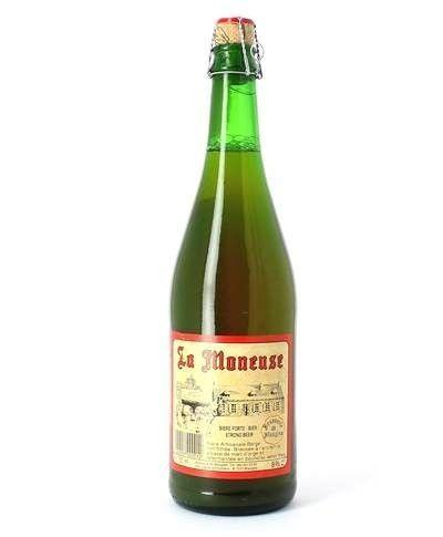 Cerveja La Moneuse, estilo Belgian Dubbel, produzida por La Brasserie de Blaugies, Bélgica. 8% ABV de álcool.