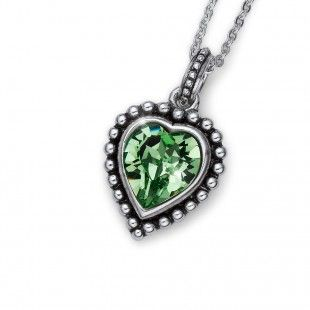 Oliver Weber Women lovely green pendant necklace antique heart with Swarovski Crystals