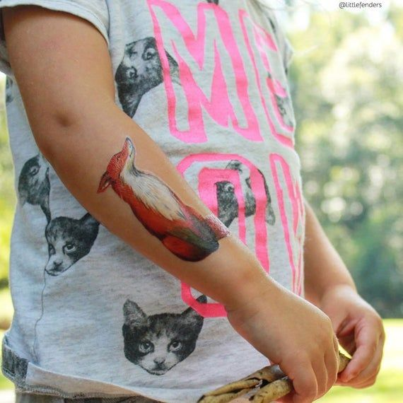 Fox temporary tattoos. Set of 3 vintage watercolor hand drawn walfdorf style woodland fox tattoos. W