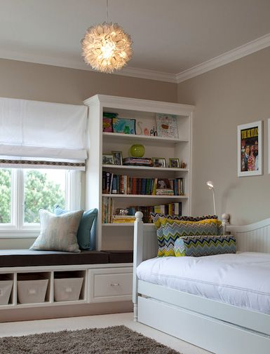 maximizing space in small bedroom - like the shelving/window seating along the wall