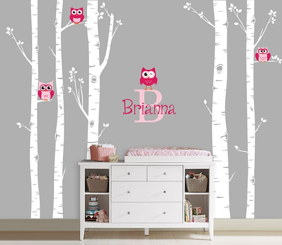 Owls and Birch Tree Forest Wall Decal Birch by InAnInstantArt, $74.00