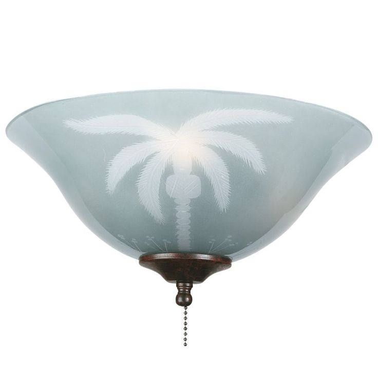 "Fanimation G210 13"" Tropical Etched Glass Bowl Shade for F423 or FW423 Fitters Tropical Ceiling Fan Accessories Light Kit Accessories Shades"