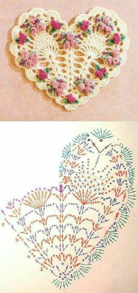 Mejores 142 imágenes de CORAZONES en crochet en Pinterest ...