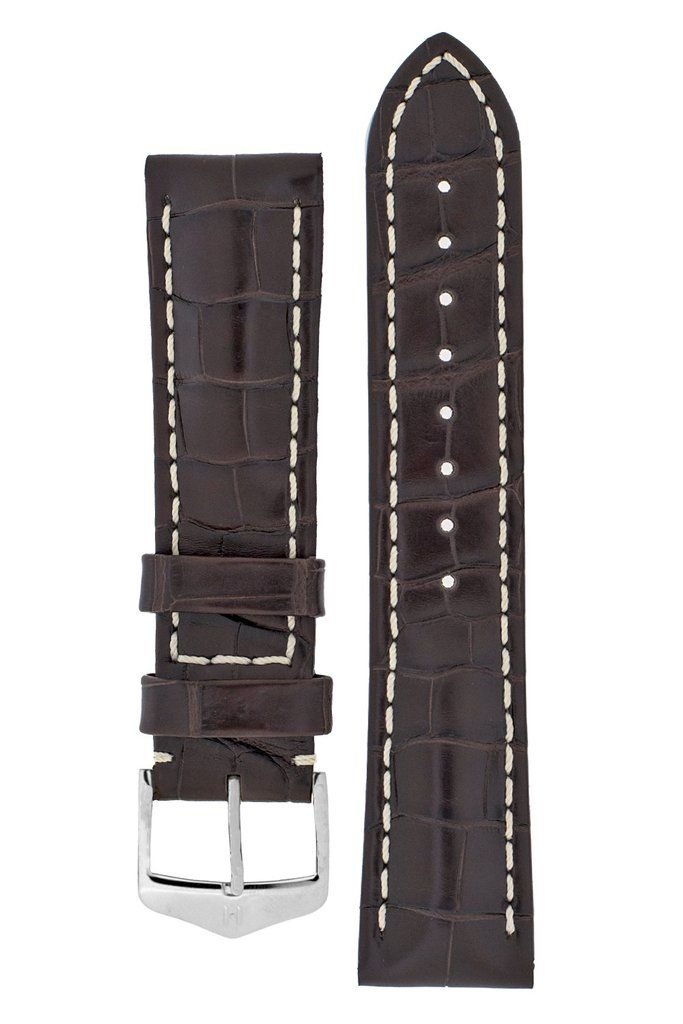 Select, fibre-deep barrel-dyed Louisiana Alligator skin, owing its silky shine to hand brushing; elegant two-tone and the coveted rectangular scalesluxurywatchstraps luxurygoods watchstrap alligatorwatchstrap handmade Rolex Omega Breitling IWC Tudor