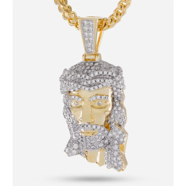 King Ice X Empire Jesus Piece Necklace ($80) ❤ liked on Polyvore featuring men's fashion, men's jewelry, men's necklaces, mens white gold necklace, mens pendant necklace, 14k gold mens necklace and mens two tone necklaces