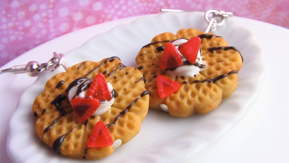 Chocolate Strawberry Waffle Earrings by mousemarket on Etsy, $17.00