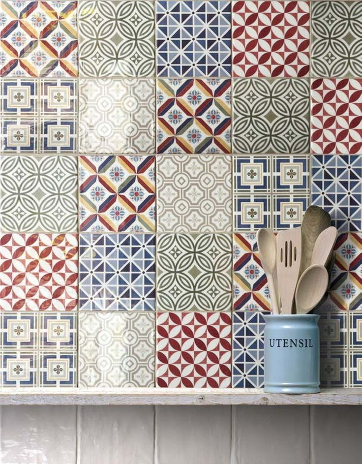 Country style tiles pettrned tiles for the kitchen for Country style kitchen wall tiles