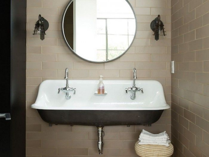 kohler brockway trough double sink with round mirror and