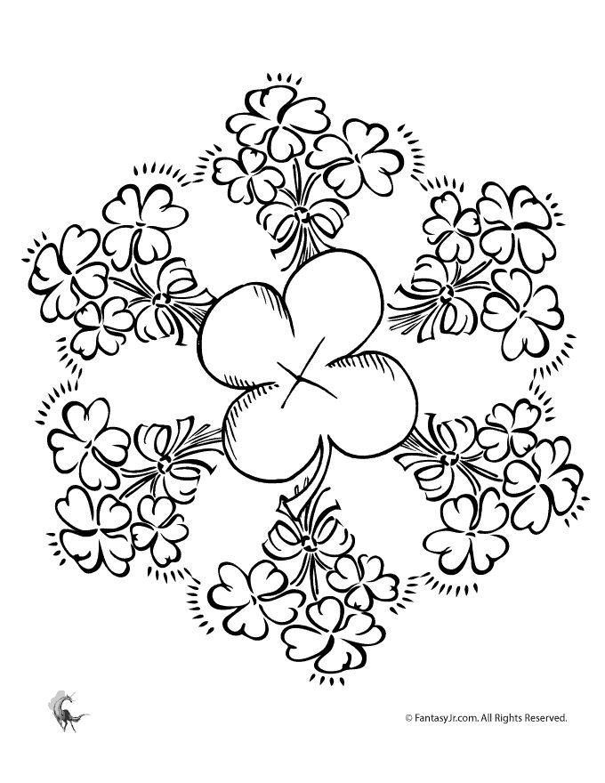 Irish Coloring Pages Celtic Mandalas Shamrock Mandala Fantasy Jr