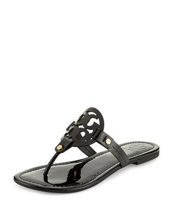 Miller+Patent+Logo+Sandal,+Black+by+Tory+Burch+at+Neiman+Marcus.