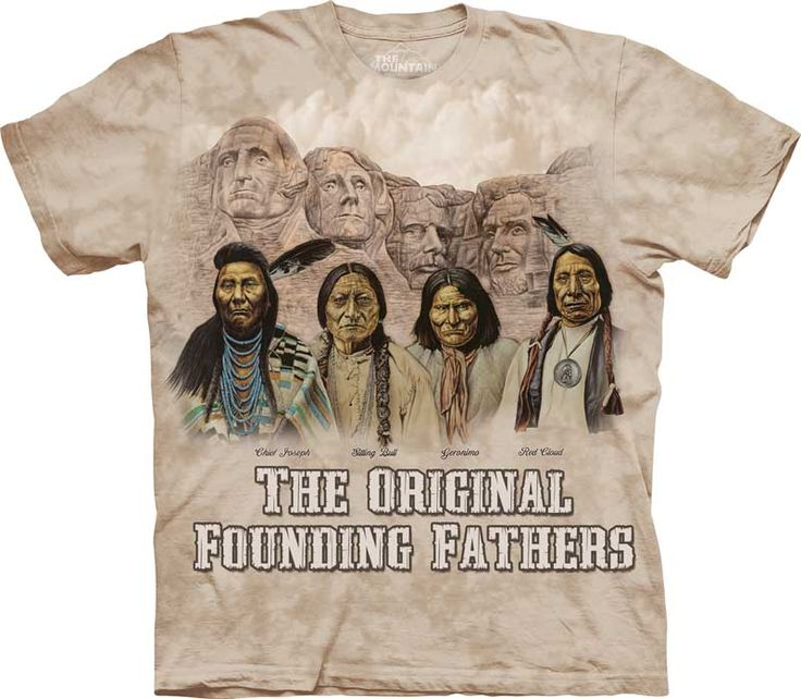 Native American tie-dye t-shirt of the original founding fathers - Free UK Delivery