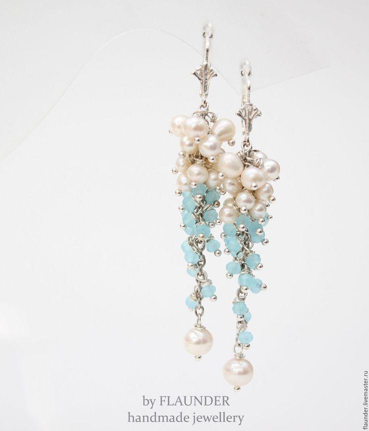 """Купить Серьги """"Морская волна"""" by FLAUNDER - голубой, белый, жемчужный, серьги с жемчугом"""