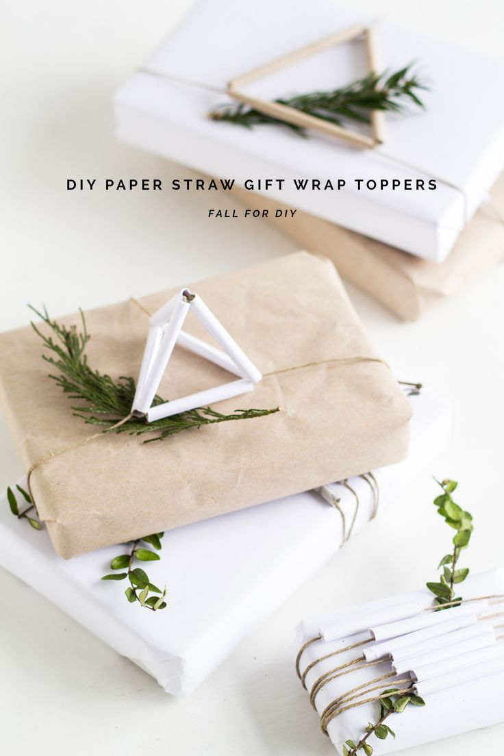 Christmas Gift Wrapping with Paper Straw Gift Wrap Toppers, fallfordiy
