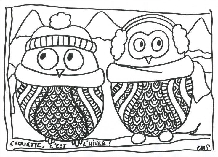Le froid a fait son retour, ça y est.... chouette! On va bientôt avoir de la neige!! (bon, d'accord, ici c'est normal, et ça ne pose aucun souci....). Pour fêter ça, voila deux ptites chouettes bien équipées pour faire face au froid (pas sûre que 'dans...