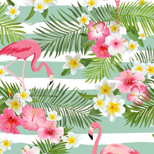 Bright Colors Green Pink Flamingo Summer Graphic Wallpaper With Stripes Blumen Hintergrunde Flamingo Tapete Tropical Flowers