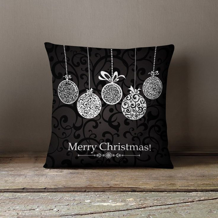 "Christmas Pillow - ""Black & white Decorations"" Pillow Case"
