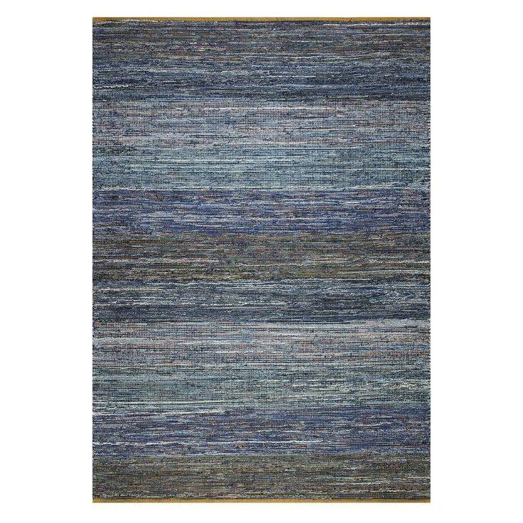 LEF collections Vloerkleed Vintage blauw denim gerecycled katoen jute 200x290cm