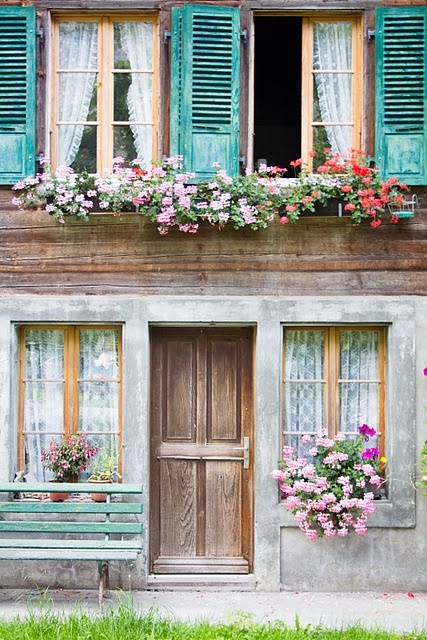 .Pink Flower, Doors, Windows Boxes, Colors, Switzerland, Cottages, House, Shutters, Flower Boxes