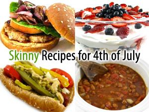 I'm sharing some of my favorites-hamburgers, hot dogs, bbq chicken, shredded pork or chicken sandwiches. In addition, many yummy sides and fabulous desserts. Happy 4th! http://www.skinnykitchen.com/recipes/skinny-kitchens-4th-of-july-round-up/