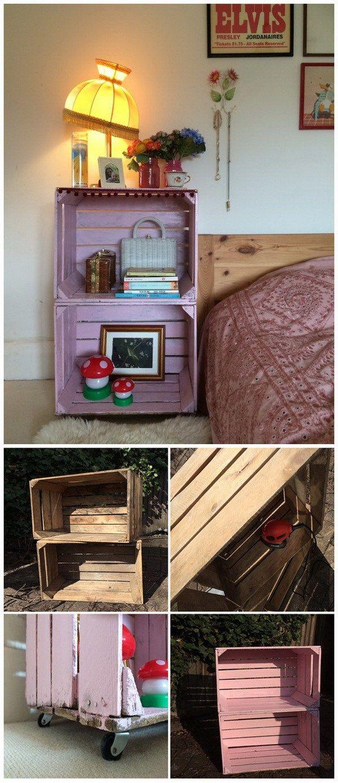 DIY Kiste Beistelltisch. Ein praktischer Nachttisch aus alten Holzkisten …   – My Home Is My Imaginarium- Anything Goes
