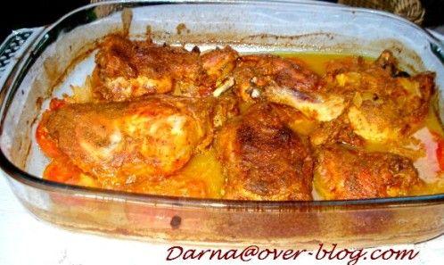 poulet au yaourt à l'indienne 2 yaourts curry cumin piment fort gingembre 3 tomates une nuit de marinade 1 heure au four