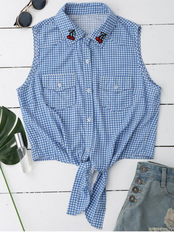Sleeveless Checked Bowknot Top - CHECKED M