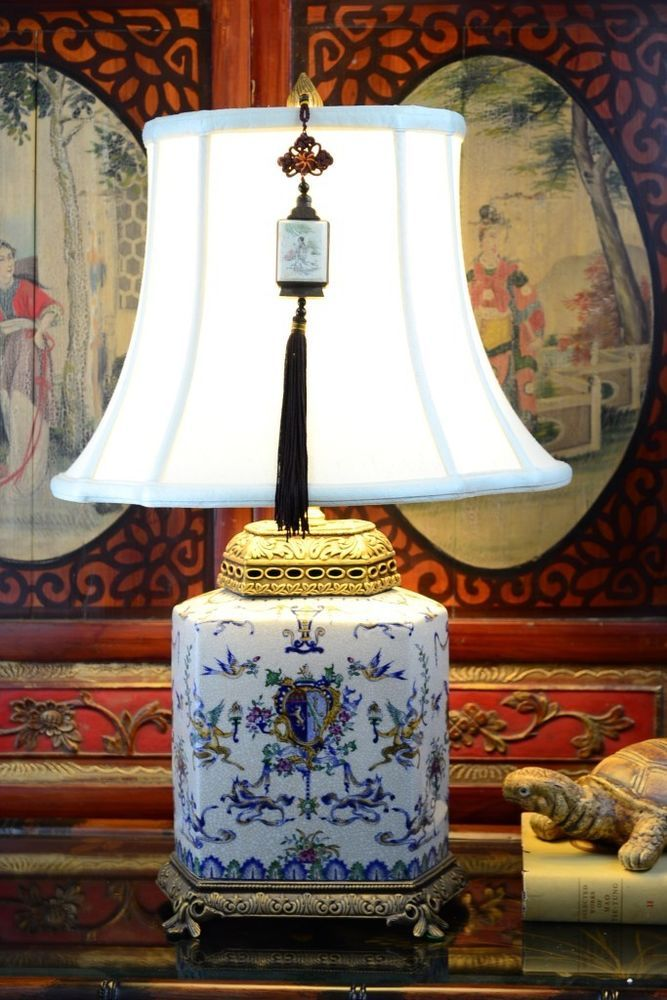 """French Chinoiserie Crackled Porcelain Table Lamp 24""""H"""