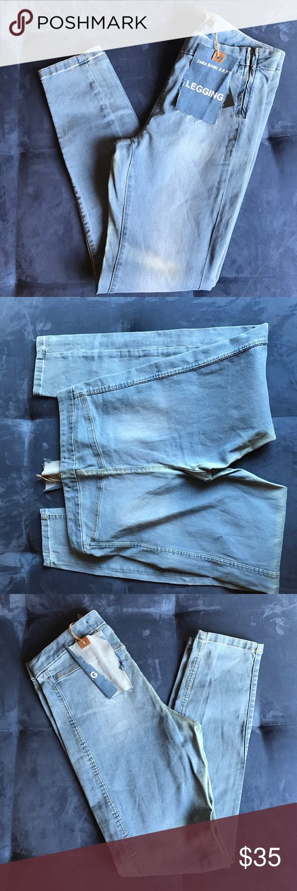 Zara denim legging Blue with a faded detail WAIST 16 across HIPS 17 1/2 LENGHT 38 1/2 Zara Pants Leggings
