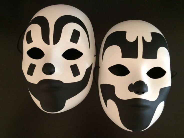 Original Set of 2 ICP Violent J and Shaggy 2 Dope Juggalo hatchetman Black and White Painted Mask by MazeMonster on Etsy