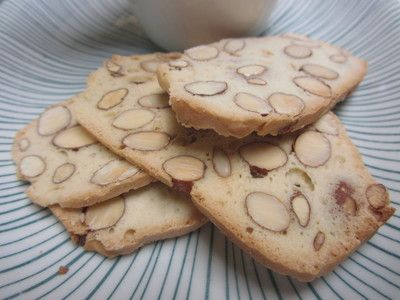 This almond bread is a light, sweet, guilt free snack (no butter!), perfect with a cup of tea or coupled with ice-cream for a tasty dessert! It is similar to biscotti, only cut thinner and cooked for longer. And if almonds aren't you favourite nut don't worry, this recipe is also great using other nuts or nut combinations.