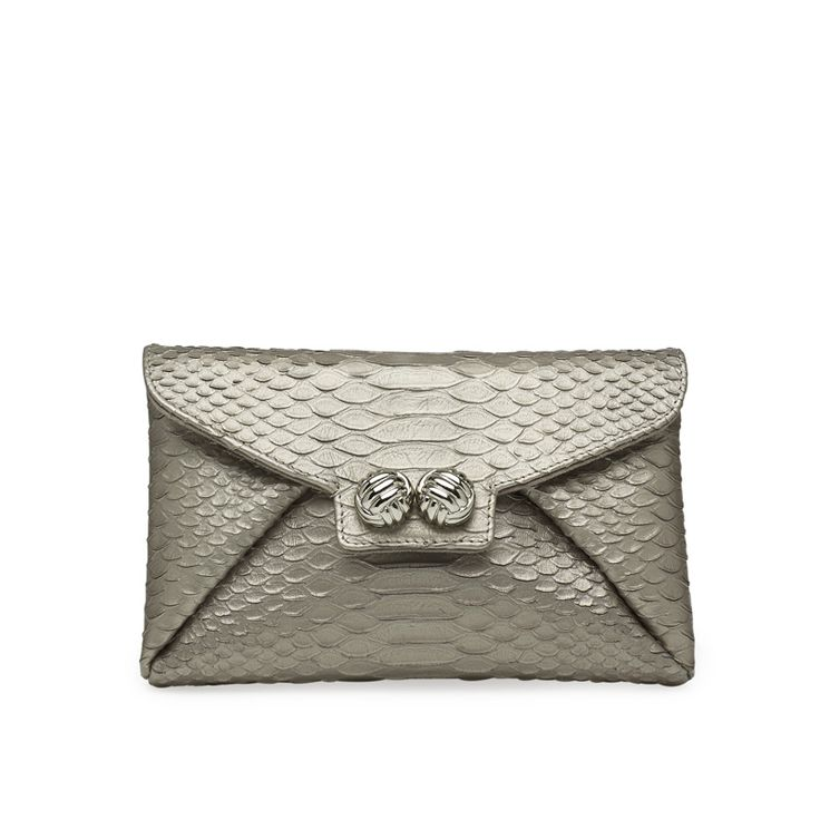 'Mercer' clutch i anthracite python embossed leather! We are in love! #leowulff #bag #clutch