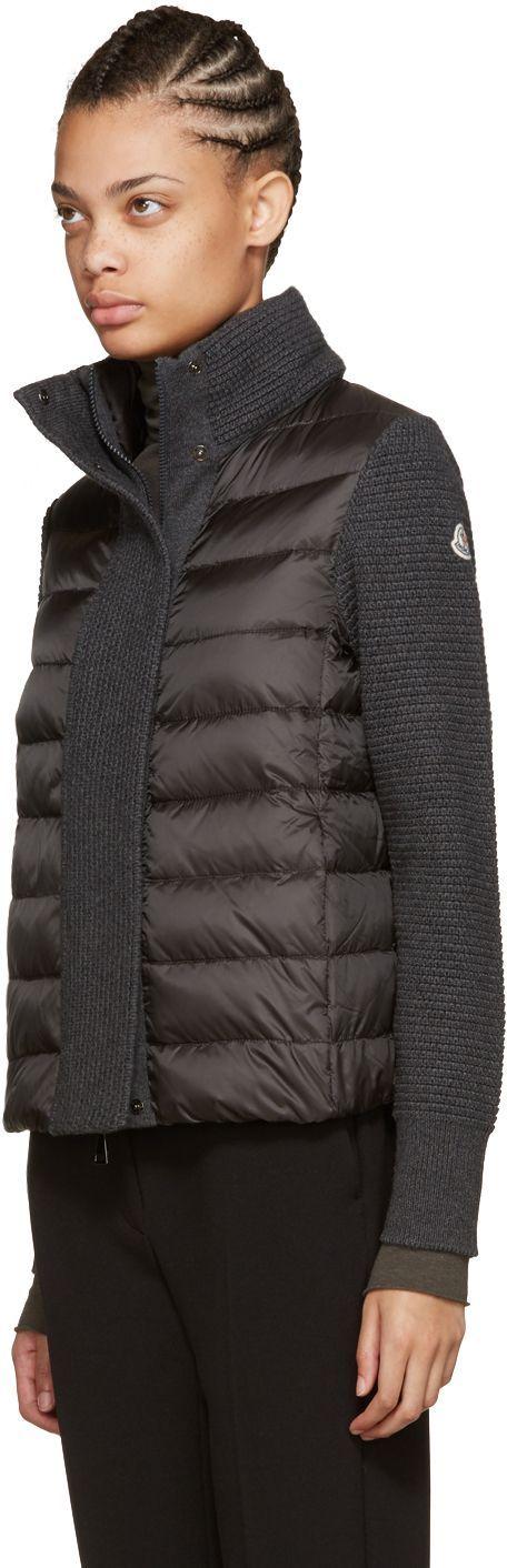 Moncler: Grey Quilted Down Jacket | SSENSE #womenscardigan #womensouterwear #womensjacket