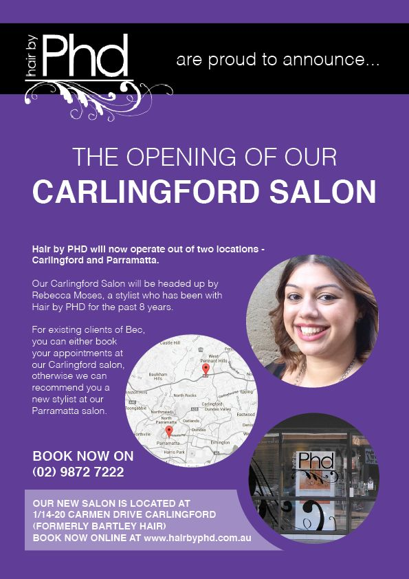 #HairbyPHD is opening a new salon in #Carligford! Bringing the best salon experience in #Parramatta to the rest of #GreaterWesternSydney!