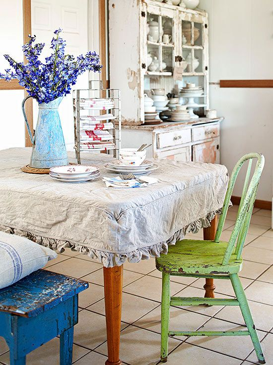 table slipcover, chippy painted chairs