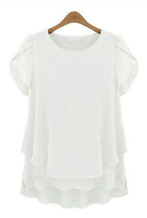 Amazon   kazan レディース 半袖 シフォン ブラウス カットソー お尻が隠れる 体型カバー (01 ホワイト M)   シャツ・ブラウス 通販