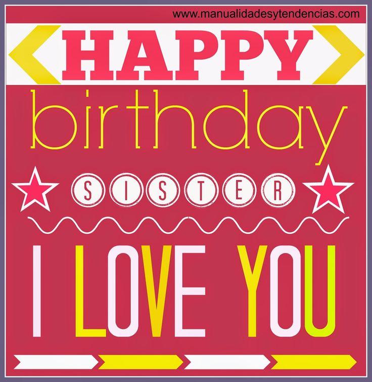 Tarjeta de cumpleaños imprimible gratis hermana #imprimible #tarjetacumpleaños www.manualidadesytendencias.com