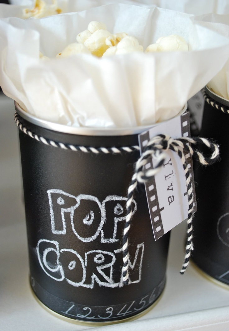 chalkboard painted recycled tin cans for popcorn & treats