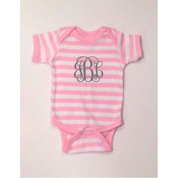 Monogrammed Baby Onesie - Pink