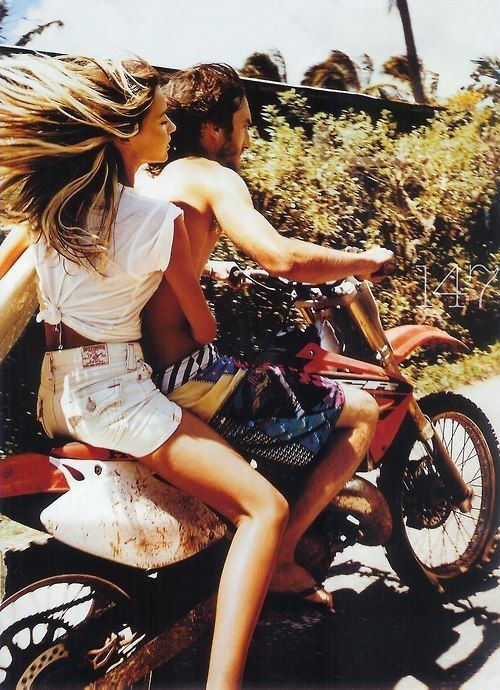 Riding off into distance.. My parents did this on there honeymoon in hawaii:)