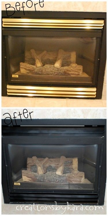 Spray Paint Diy Fireplace Makeover She Used Krylon Bbq Stove