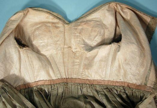 c. 1830's Golden Sage Green Silk Jacquard Dress