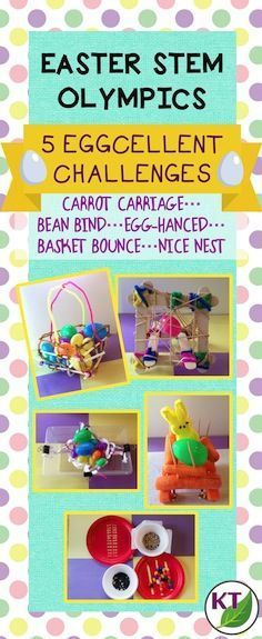 "Blog post outlines 5 ""eggcellent"" Easter-themed STEM challenges that can be modified for use with grades 2-8: Carrot Carriage, Bean Bind, Egg-hanced, Basket Bounce, and Nice Nest."