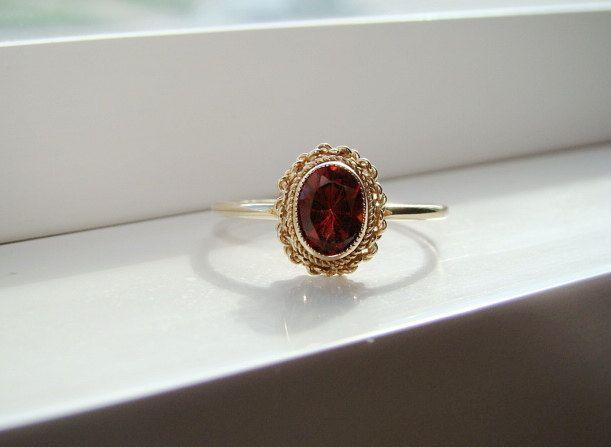 Antique Garnet Engagement Ring Vintage Edwardian by PenelliBelle
