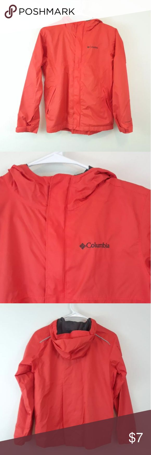 COLUMBIA BOYS M ORANGE HOODED WINDBREAKER JACKET Columbia Sportswear Company Jacket with Omni-Shield Size medium  Has pockets Zip-up closure with Velcro Reflective stripe on back 100% nylon 100% Polyester Mesh lining Columbia Jackets & Coats Raincoats