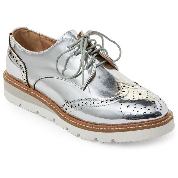 Wanted Silver Downey Platform Wingtip Oxfords ($35) ❤ liked on Polyvore featuring shoes, oxfords, metallic, wingtip oxfords, platform wedge shoes, wingtip oxford shoes, oxford shoes and silver oxfords