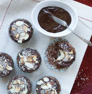 Macaroon-Filled Brownie Cupcakes Topped with Chocolate Ganache and Toasted Almonds